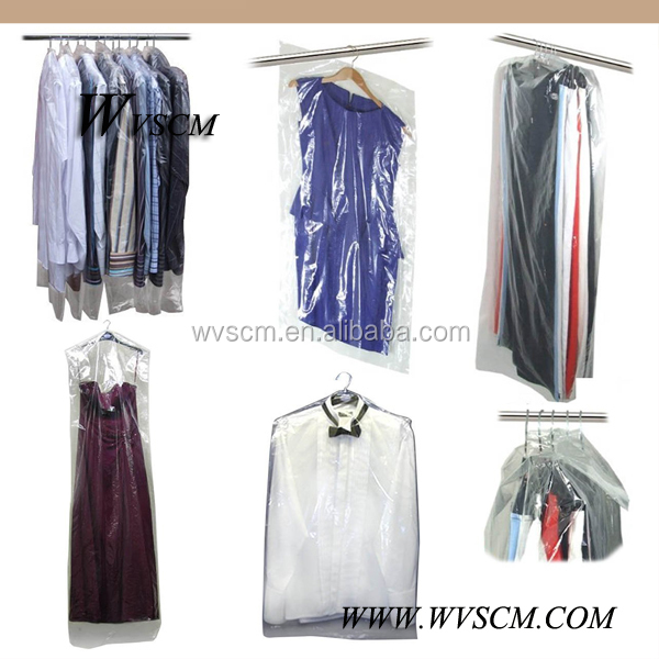 Crystal clear polythene plastic clothes bag for packing for Clear shirt packaging bags