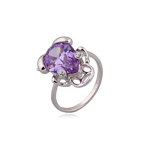 10658 Xuping animal frog amethyst ring,gemstone silver color ring,natural gemstone ring