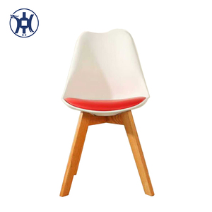 Modern Design Wooden parts EME Plastic Plastic Dining Table Chair With Oak Leg