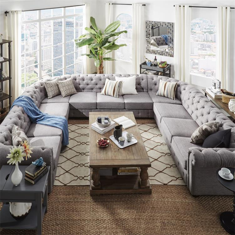 A Beautiful Anthropoligie Sofa Piece Big U Shape Chesterfield Living Room Furniture Nice Luxury Arabic Majlis