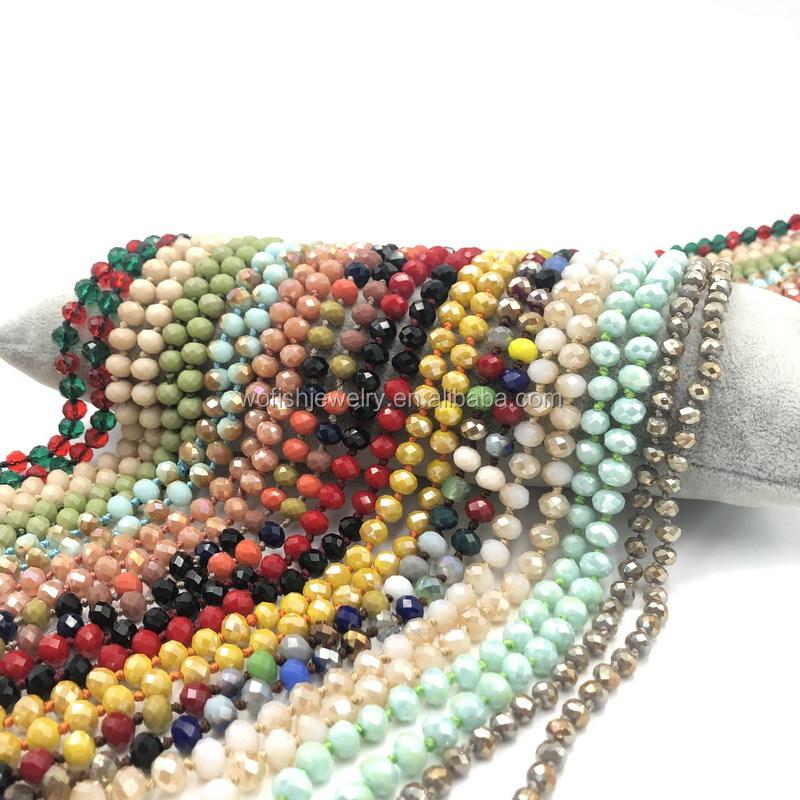 Wofish DIY Ручная работа 8 мм узелковые матовые длинные хрустальные бусы ожерелья