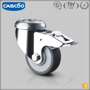 CASCOO 2 inches swivel rubber metal furniture caster wheel guangdong, thread stem medical caster