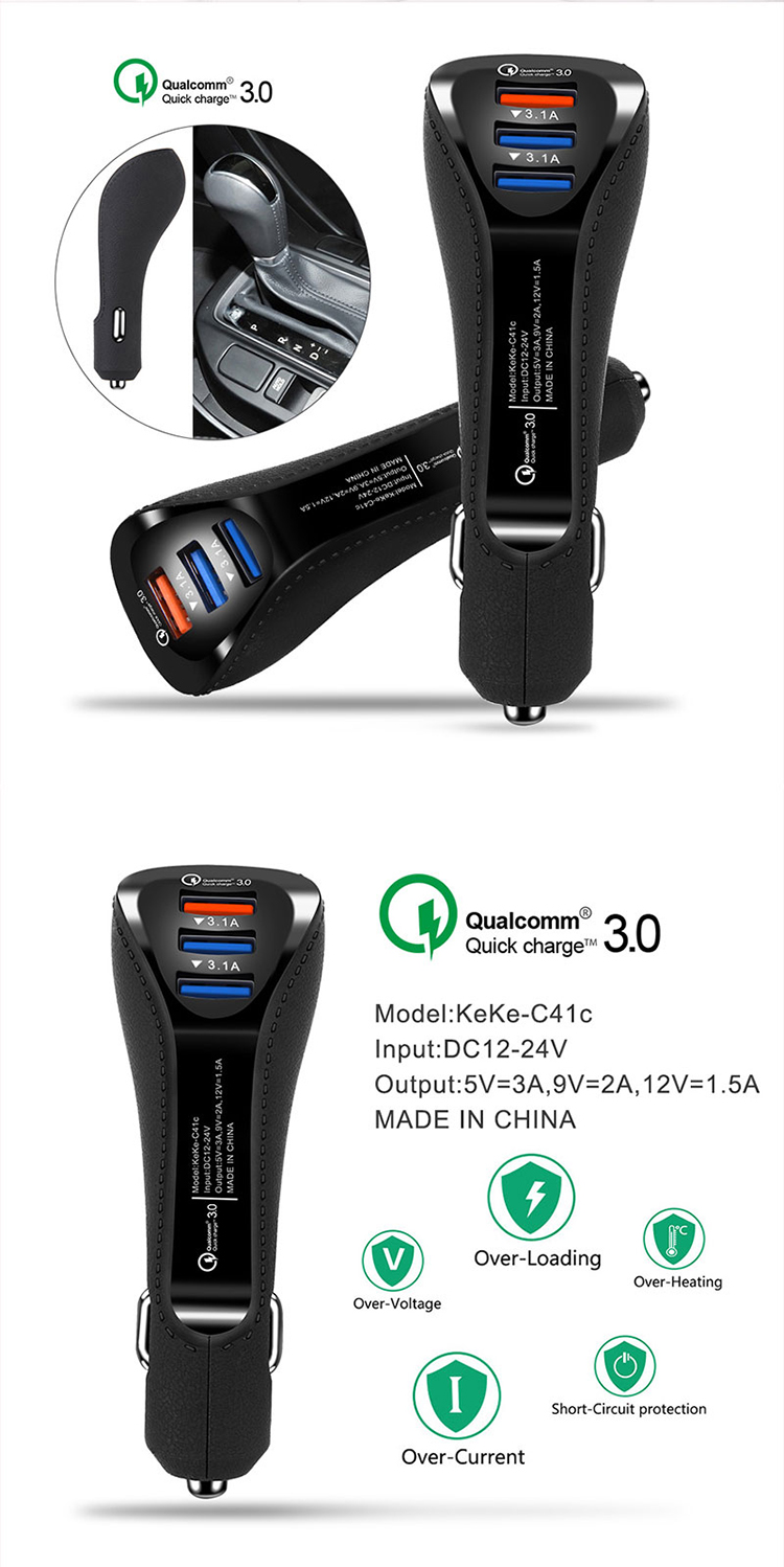 EONLINE 5V 6A Car Phone Charger Mini 3 Port USB Car Charger Adapter Fast Charging for iPhone Samsung Xiaomi Huawei HTC