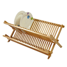 2-Tier Natural Color With Drain Tray  Bamboo Dish Rack