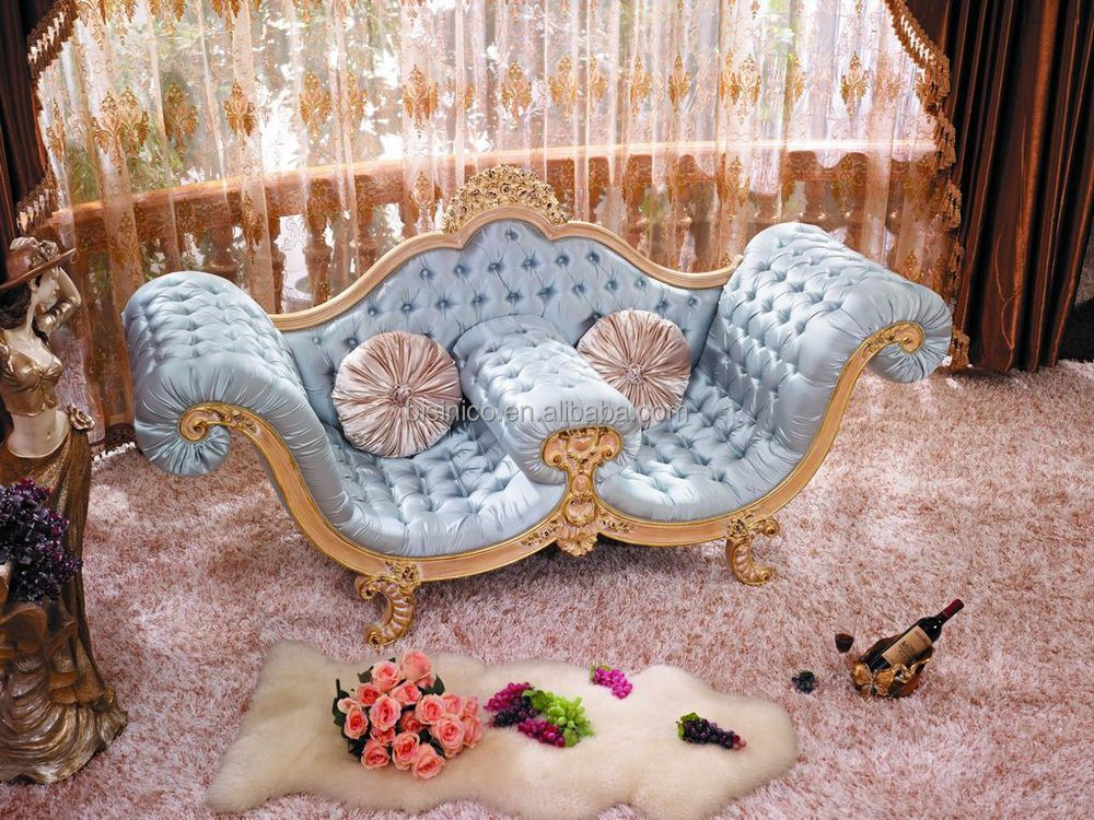 New Design Fancy Golden Wood Hand Carved Chaise Lounge