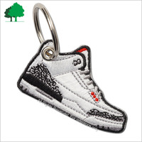 Direct factory sale custom high quality Embroidery patch Stylish and versatile, it comes with both a shoes and key ring.