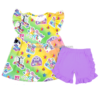 online wholesale children's trendy boutique clothes kids clothing ruffle shorts little baby girls cartoon cheap unicorn outfits