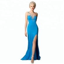 a9620f4716e New Mermaid Lange Abendgesellschaft Kleider Blau Mit Kristall Abendkleid  2018