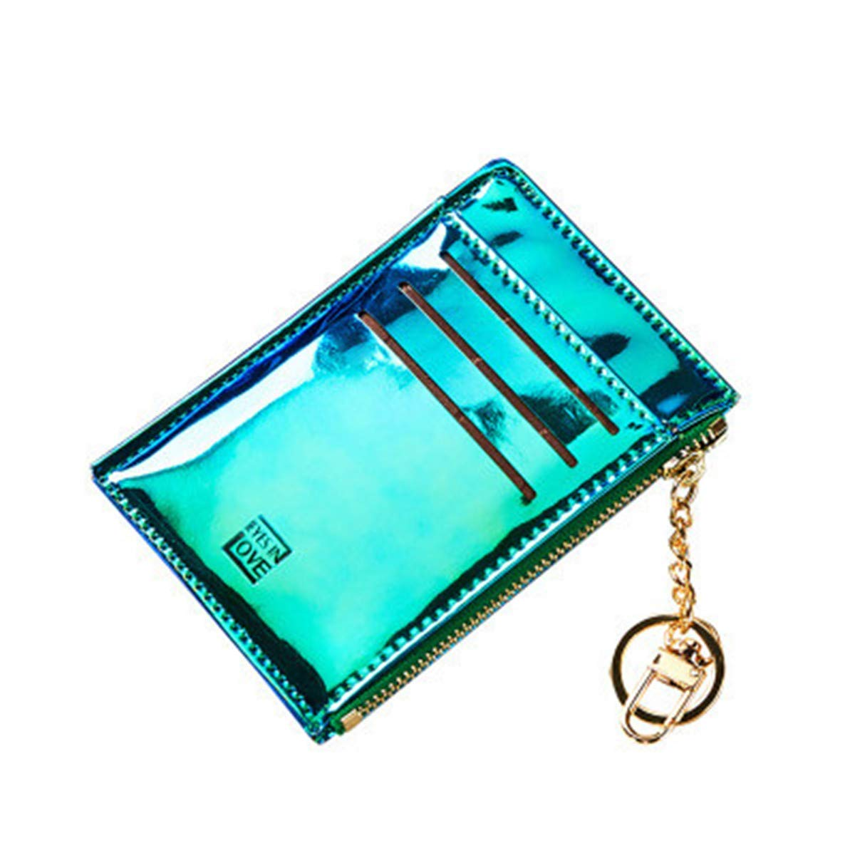 BeautyWJY Mini Credit Card Holder Coin Purse Key Chain Wallt With Key Ring Coin Change
