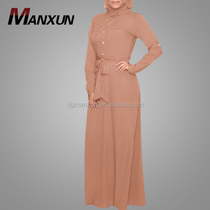 2018 Muslim maxi dress buttondown long belt abayas wholesale islamic clothing