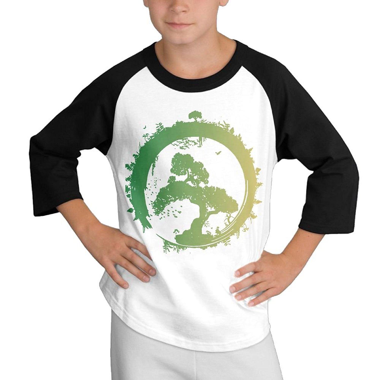 S&QFashions Japanese Bonsai Tree Enso Circle Art Children Tshirt Cotton Basic Long Sleeve T Shirts