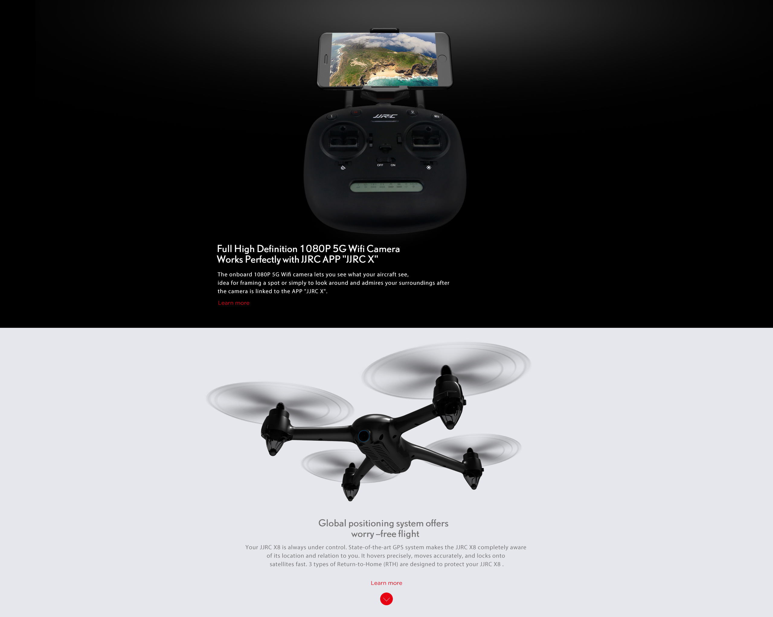 JJRC X8 5G Wifi Brushless GPS Altitude Hold Selfie Drone with HD Camera Quadcopter