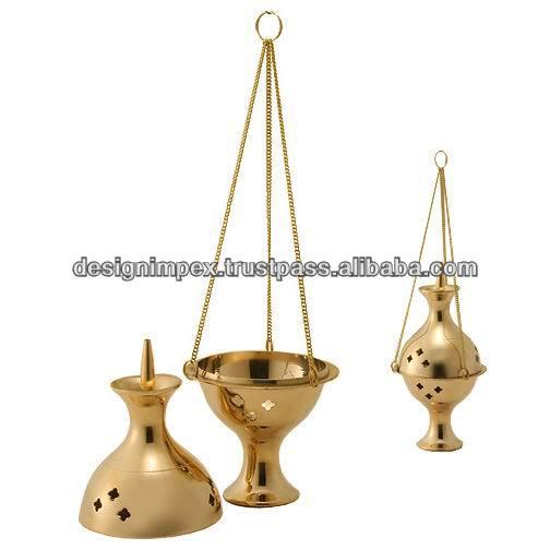 Brass Hanging Incense Burner In Polish
