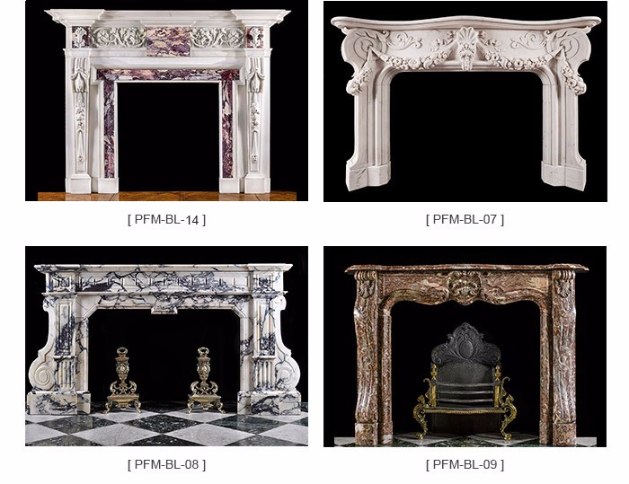 Italian Natural Stone Carrara White Marble Fireplace Mantel Indoor Fireplace Surrounding