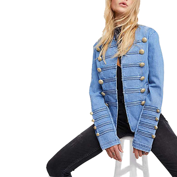 Spring And Autumn Trim Military Uniform Style Denim Women's Coat