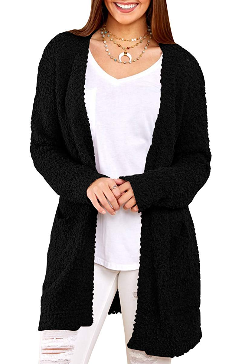 Mafulus Womens Cardigans Open Front Long Sleeve Faux Fur Casual Loose Sherpa Sweaters Coat