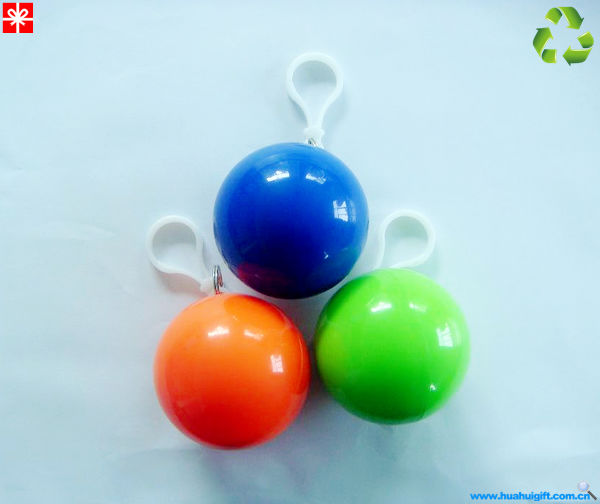 2014 100%ECO Match Poncho Ball with keychain Disposable LDPE Raincoat