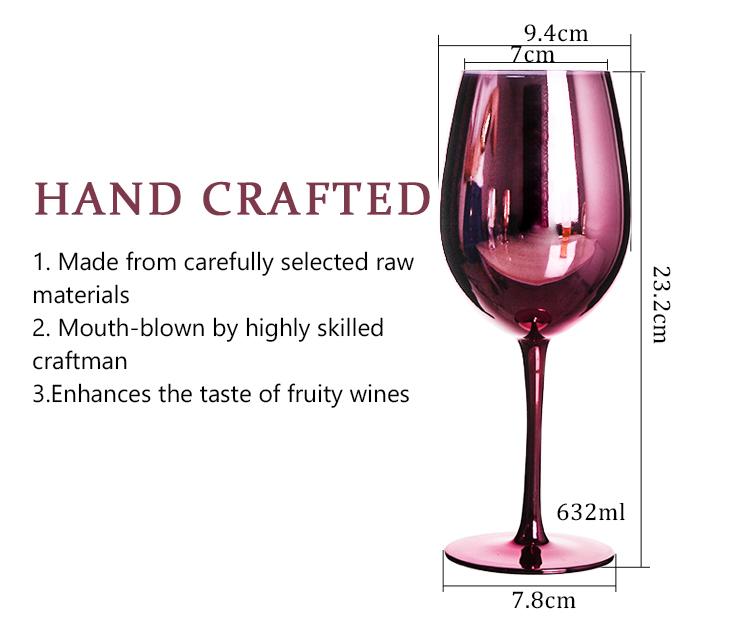Di Vendita caldo Su Misura Soffiato Chandon Champagne Placcato Oro Rosa Calici di Vino di Vetro