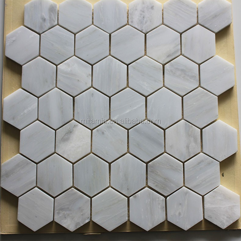 Oriental hexagone marbre blanc mosa que pour planchers et for Carrelage hexagonal marbre