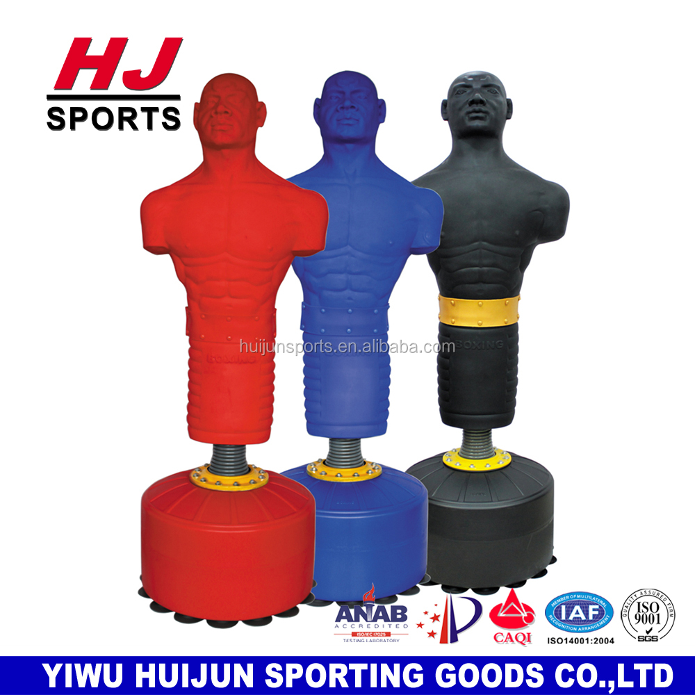 HJ-G082 Professional China Suppliers Huijun Human punching bag Body shape silica Dummy free standing boxing punching bag