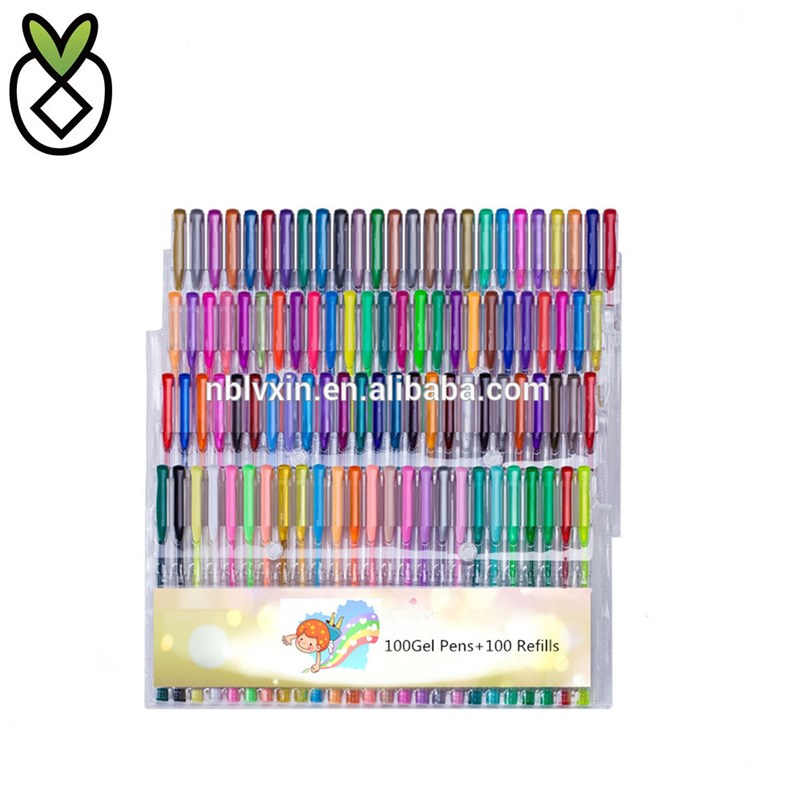 200 Conte di Scintillio Del Gel Penne Set di Colorazione, 100 Colorato Penna Gel plus 100 Ricariche per Adulti Libri Da Colorare Disegno Art Markers