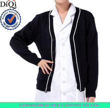 2015 fashion wholesale computer knitted solid black nurse cardigan with button down