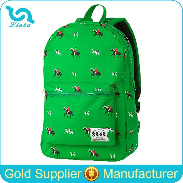 Custom Backpack Manufacturer Green Dog Print Backpack