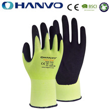 HANVO 18G Hi-Viz Yellow HPPE Cut Resistant and Black Sandy Nitrile Dipped Work Gloves