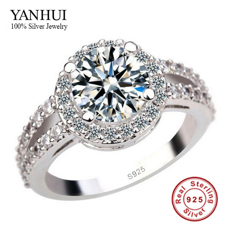 YANHUI 100% 925 Pure Silver Engagement Ring S925 Stamp 3 ...