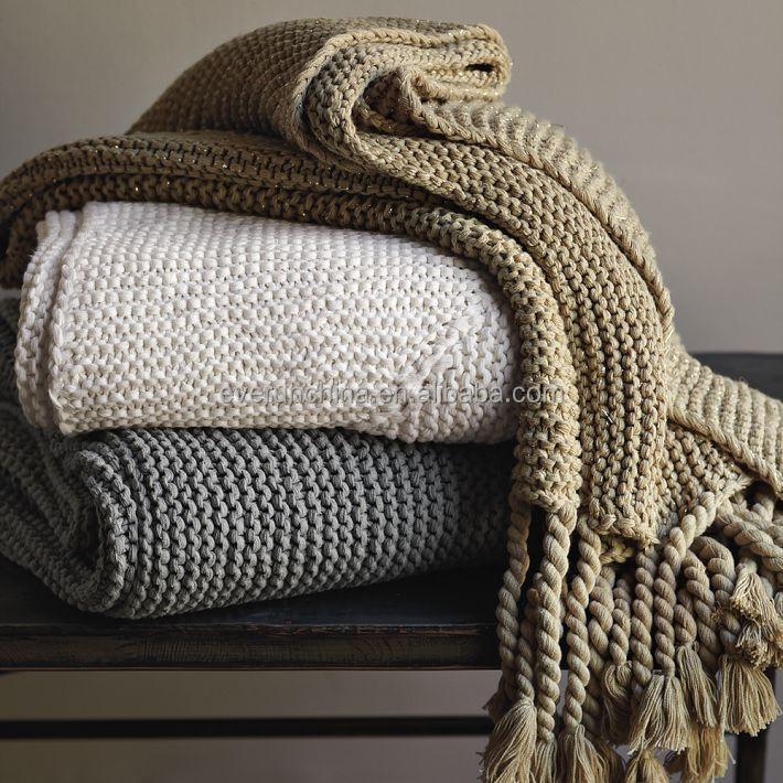 100 Cotton Knit Blanket White Plaid Throw For Sofas Cotton