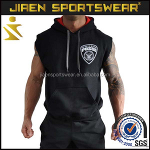 Wholesale 2017 Mens black sleeveless GYM Hoodie NO MOD design your own logo full sublimation Sweater