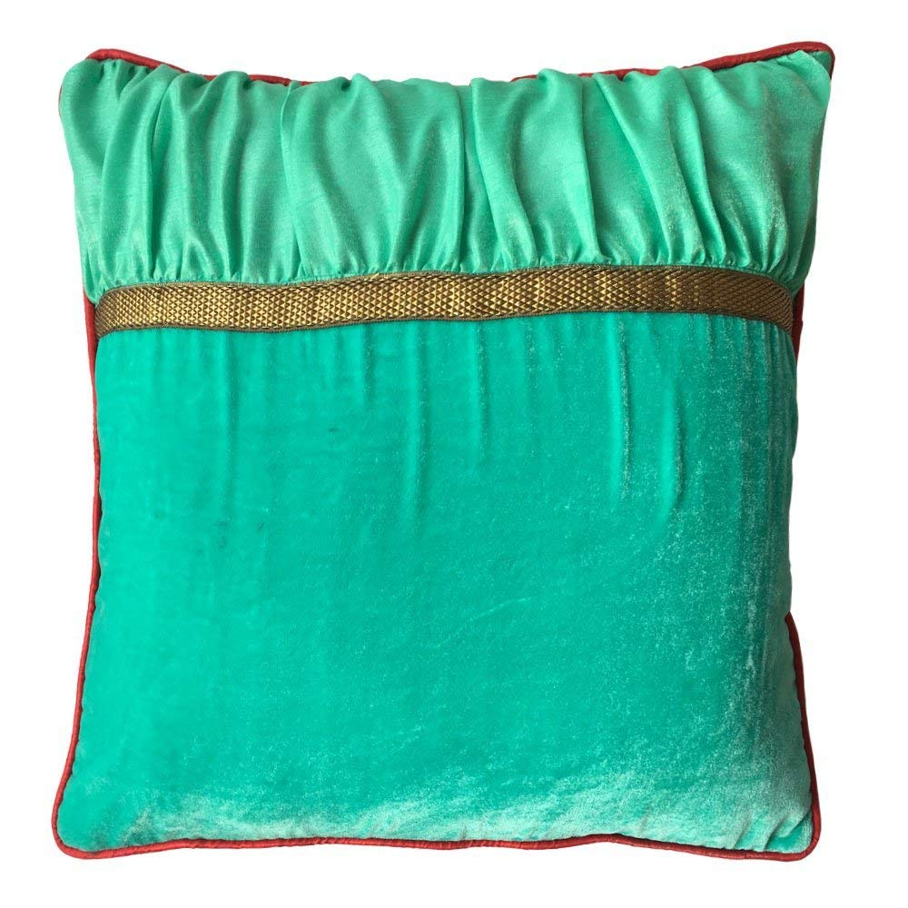 Decorative Square Luxuries Velvet Silk Piping Pillow cover with Aqua Green Velvet Green Color Dupioni & Red Piping pillow cover