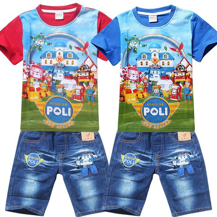 Hot New 2015 Summer POLI ROBOCAR Children Boys Clothing Sets Baby Kids Suitst Shirt Jeans Shorts