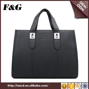 F G Genuine Leather Unisex Office Handbag Commuting Bag For Men