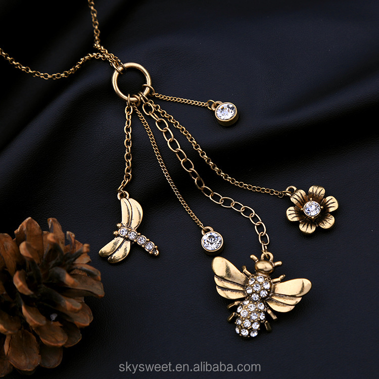 Dragonfly bee alloy flower animal pendant necklace,gold necklace(PR1323)