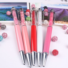 NEW arrival promotional pearl crystal pen metal ball pen goes with pendant