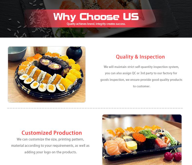 Groothandel 5 compartiment zwart plastic voedsel wegwerp te gaan containers met deksels