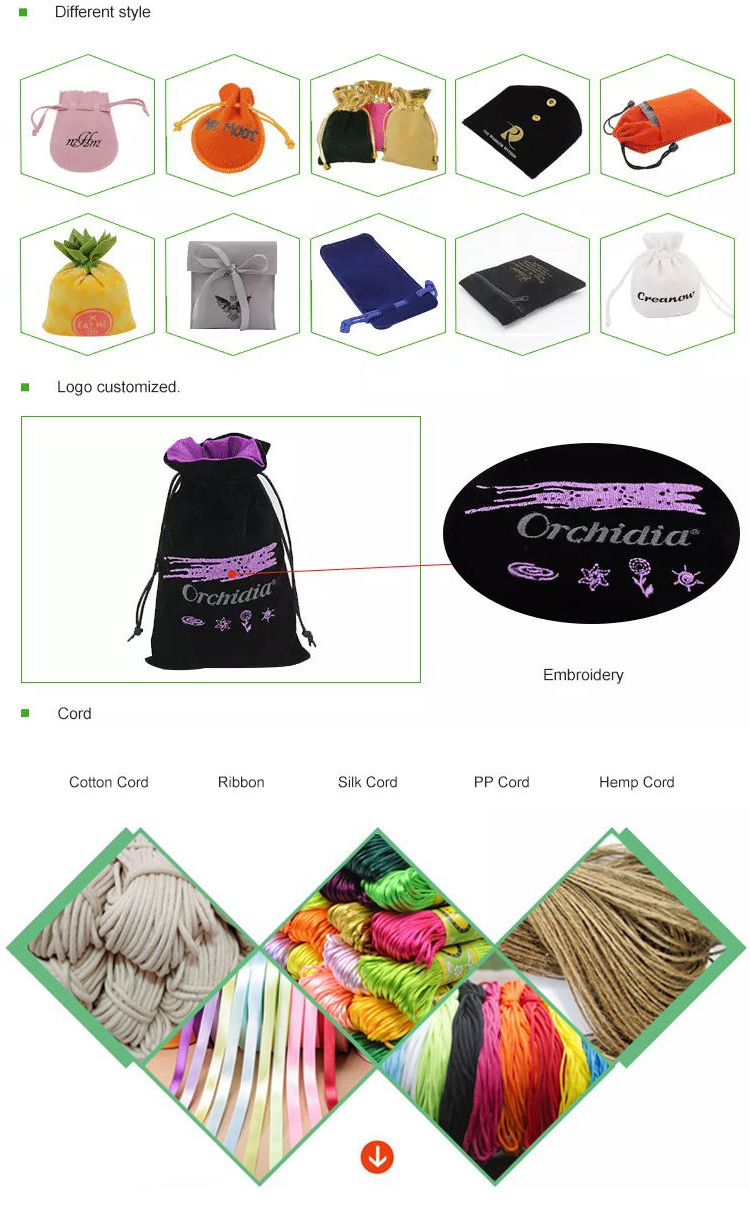 Custom logo printed mini drawstring necklace packaging velvet jewelry perfume pouch bag