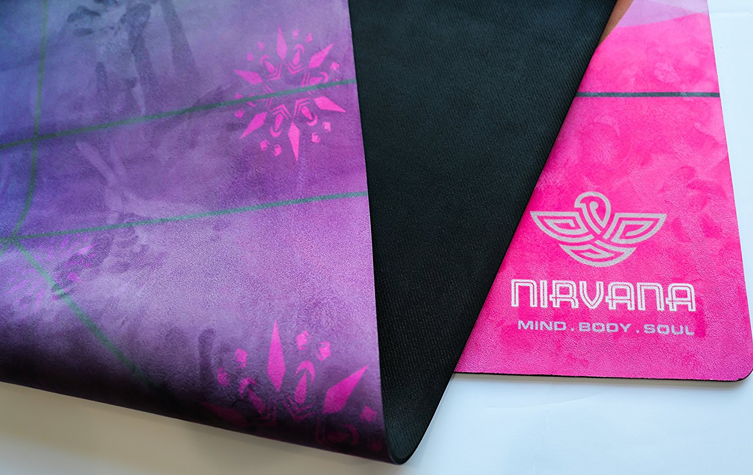 NIRVANA Pro YOGA MAT, Large Yoga Mat , Thick Yoga Mat, Non Slip Yoga Mat, Natural Rubber Yoga Mat, Beautiful Design, Eco Friendly Yoga Mat, Non Toxic Yoga Mat Towel Combo comes with a Yoga Bag.