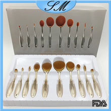 Light gold Oval Makeup Brush Set Private Label Makeup Brushes Wholesale Airbrush Makeup Kit Foundation Powder Brush 10pcs