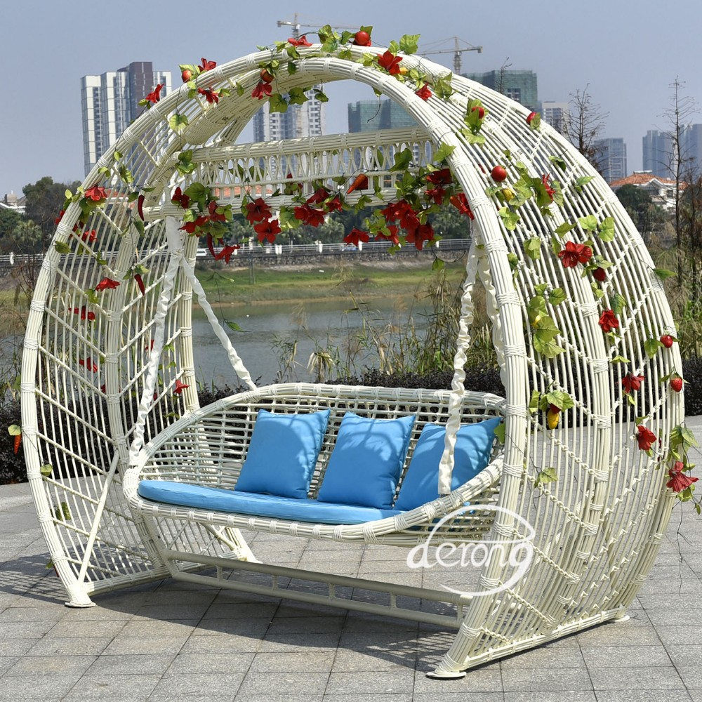 2016 Hot Sale Good Quality White Rattan Patio Garden Swing Chair Good Quality Wicker Outdoor