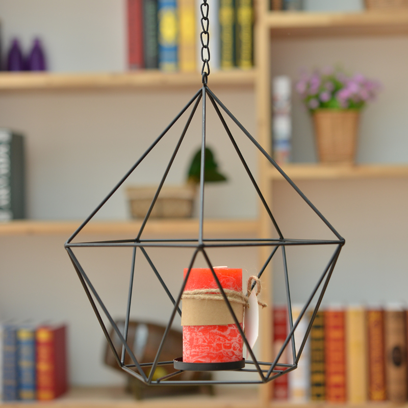 Geometry With Chain Shape Iron Candlesticks Minimalist Decorative Candle Holders For Home Decor Creative Candle Stand
