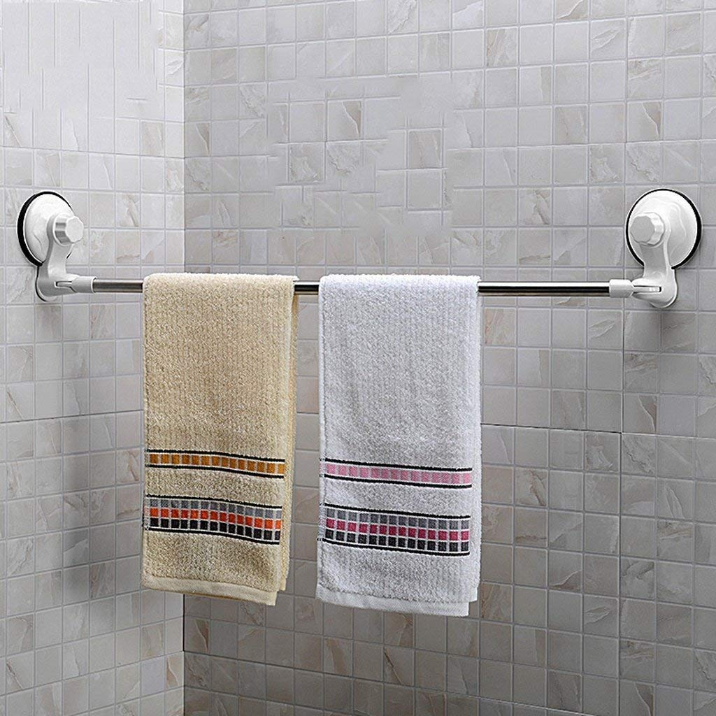 EQEQ Uus Bath Rooms Towel Holder Strong Sucker Stainless Steel Towel Rail to Avoid The Drilling of A Single Bar Towel Rack Bathroom Towel to Suspend
