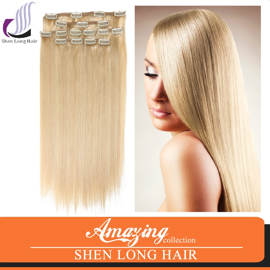 Honey Blonde Clip-In Hair Extension Type Hand Tied Double Drawn Clip In Virgin Human European Hair Extensions 7a Grade