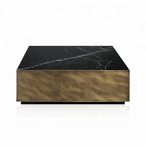Luxurious commercial office black marble square copper brass center coffee tea table