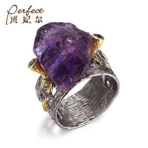 Custom Black Vintage Amethyst Finger Men Ring ,Unisex Sterling Silver Ring Custom
