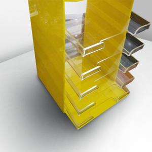 Floor Desktop Standing Durable Yellow Acrylic Case Pencil Display Rack