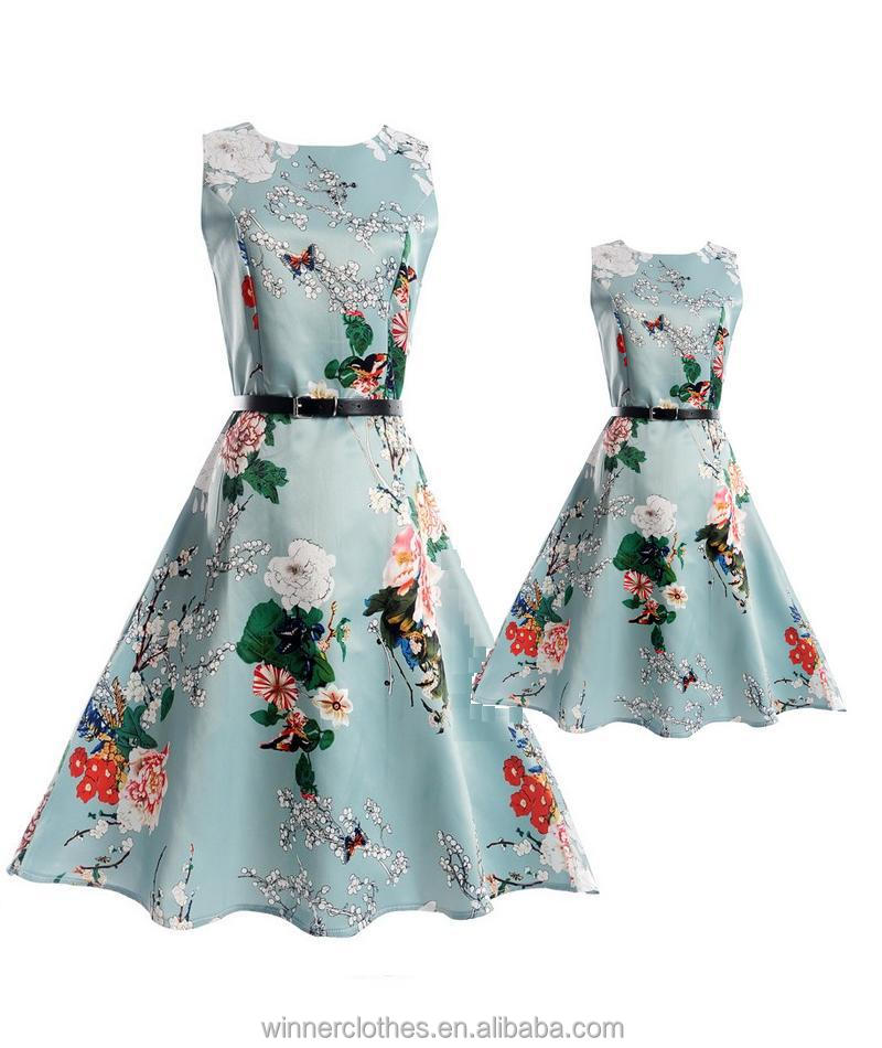 mom and me dress clothes party clothes sets long sleeves dress with sash mother and daughter