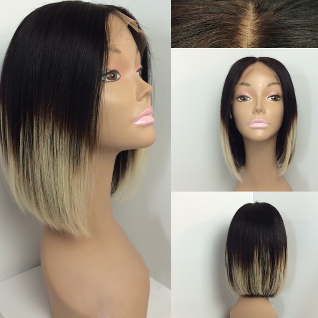 Overnight delivery Hair Wig middle part cheap half black half white hair wig for black woman