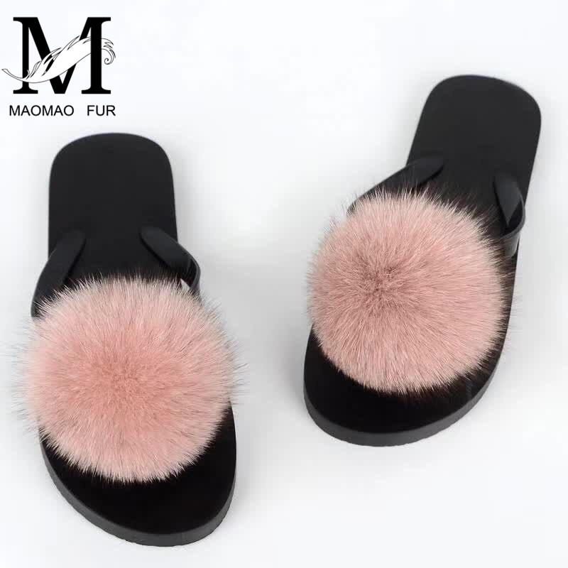 Wholesale New Design Women Luxury Fur Flip Flop Real Big Fox Fur Pom Pom <strong>Slippers</strong> with Fur